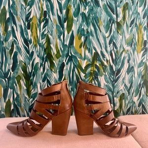 Tan strappy BGBG heeled leather sandals/pumps